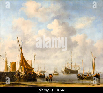 Entrance to a Dutch Port, c. 1665, Dutch East India Company painting by Willem van de Velde II - Stock Image