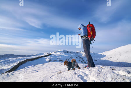 Hiker checking their GPS position on Hartsop Above How that leads towards Hart Crag. English Lake District. - Stock Image