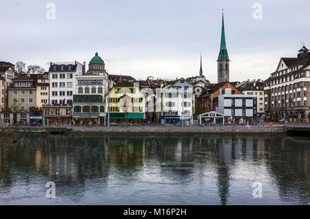 A winter day in Zurich, Switzerland - Stock Image