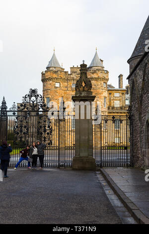 EDINBURGH, SCOTLAND - FEBRUARY 9, 2019 - Placed in the Royal Mile, the Palace of Holyroodhouse is the official residence of the Monarchy in Scotland - Stock Image