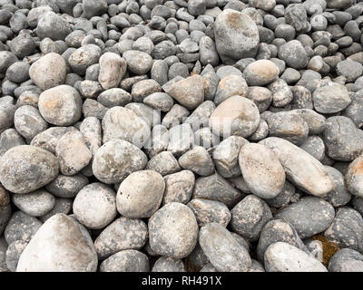 Beach stones: Grey stones of various sizes make up a beach on a small lake inside the park. - Stock Image