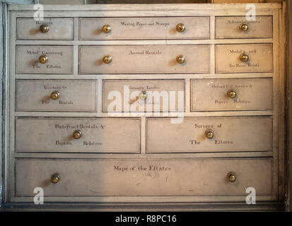 Storage drawers with labels for documents relating to stately home - Stock Image