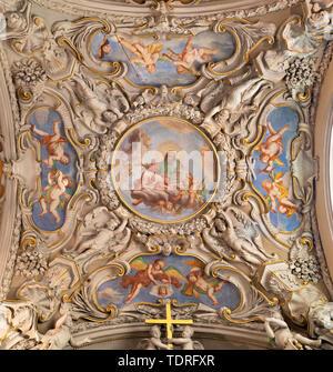 MENAGGIO, ITALY - MAY 8, 2015: The neobaroque ceiling fresco of God the Creator in church chiesa di Santo Stefano by Luigi Tagliaferri (1841-1927). - Stock Image