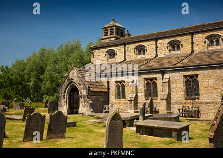 UK, Yorkshire, Wharfedale, Linton Falls, St Michael and All Angels church - Stock Image