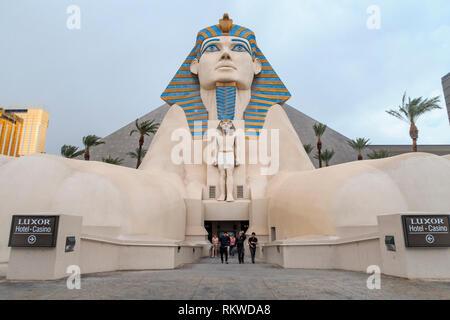 The Sphinx outside The Luxor Casino Hotel in Las Vegas. - Stock Image