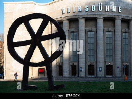 Berlin Volksbuhne on the Rosa-Luxemburg-Platz with Räuber-Rad or robber's wheel indicating trouble. - Stock Image