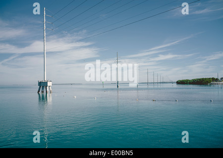View of the sea and other islands as seen from the dock at Robbie's of Islamorada in Lower Matecumbe Key, Florida. - Stock Image