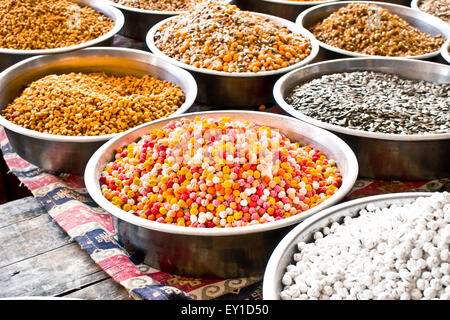 Colorful display of nutes and seeds at a Turkish market - Stock Image
