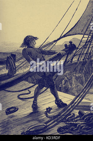 Treasure Island by Robert Louis Stevenson. Caption reads: 'I put the helm hard up, and the Hispaniola swung - Stock Image