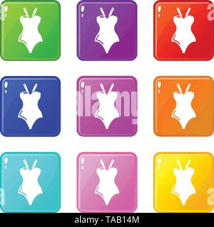 Swimsuit icons set 9 color collection - Stock Image