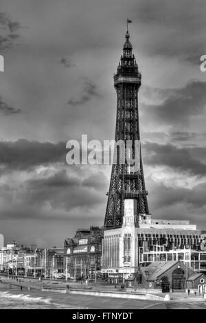 Blackpool Tower in HDR monochrome - Stock Image