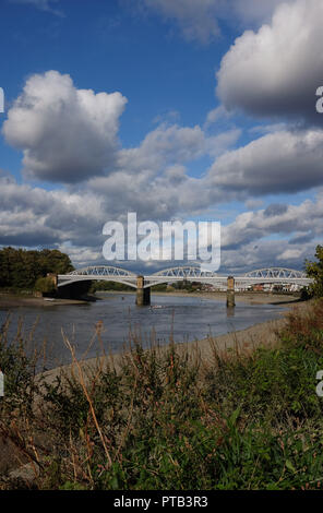 Barnes Railway Bridge over River Thames at Barnes Mortlake London UK - Stock Image