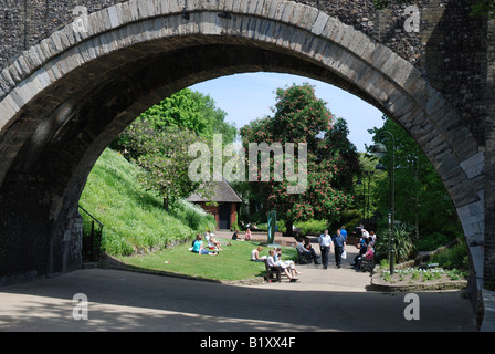 Gardens at the Castle Museum, Norwich - Stock Image