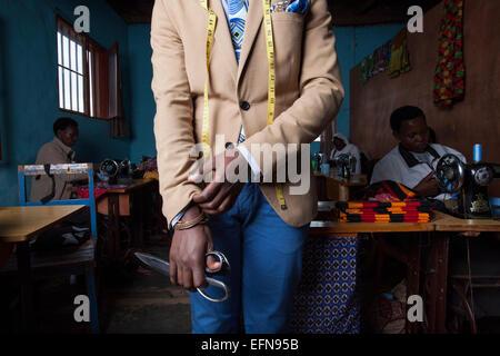 Tailor in his workshop, Kigali, Rwanda - Stock Image