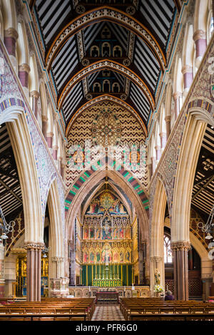 All Saints, Margaret Street, London, 1850 by architect William Butterfield, an important church of the Gothic Revival in Britain. - Stock Image