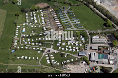 aerial view of Fron Farm Caravan & Camping Park, Hendre, Mold North Wales - Stock Image