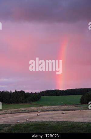 Rainbow over Soutra hill, near Edinburgh - Stock Image