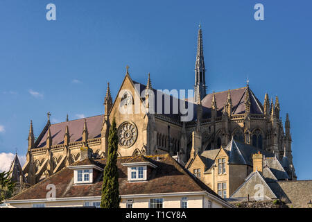 Arundel Cathedral of Our Lady and Saint Philip Howard seen from Parsons Hill in the historic market town of Arundel, West Sussex, England, UK - Stock Image