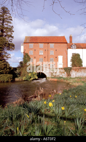 Bintree Water Mill and the river Norfolk - Stock Image