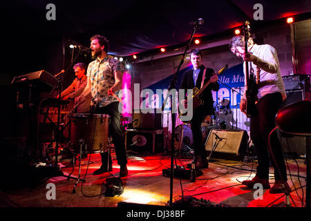 Milan Italy. 19th November 2013. The American indie-rock band CAVEMAN performs live at the Salumeria Della Musica - Stock Image