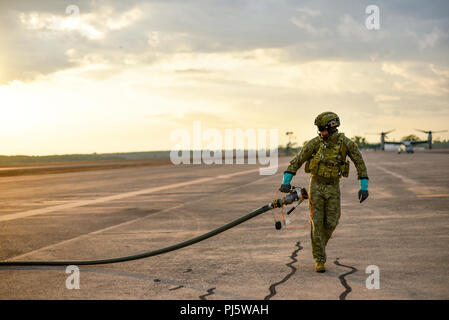 A member of the Australian Army prepares the fuel line from an Australian Defence Force C-130J Hercules at the Royal Australian Air Force Base, Darwin, Aug. 27, 2018. The ADF did a ground-refuel from their Hercules to a U.S. Marine Corps MV-22 Osprey with Marine Rotational Force – Darwin. This refueling trial was the first time the Enhanced Air Cooperation initiative has integrated with aviation capabilities not assigned to the United States Air Force. Through combined training and improved interoperability, the EAC initiative enhances the capabilities of both forces, and positions both nation - Stock Image