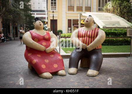 Artworks located in the redeveloped street next to Amoy Street in Wan Chai - Stock Image