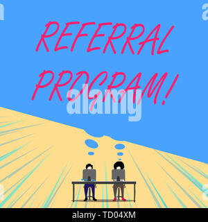 Conceptual hand writing showing Referral Program. Concept meaning internal recruitment method employed by organizations Two men sitting behind desk ea - Stock Image