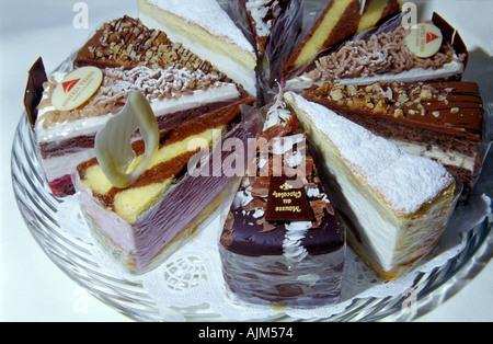 Austrian cakes or tarts at a wiener café Vienna Austria - Stock Image