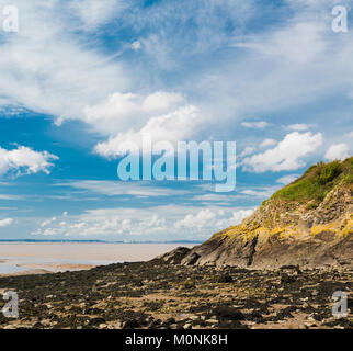 Rocky beach, cliffs and mudflats at Clevedon Pill, Somerset, England - Stock Image