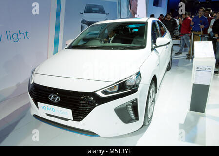 Greater Noida, India. 14th February 2018. Hyundai Ioniq hybrid car is on display at the Auto Expo 2018 in Greater - Stock Image