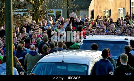 Derbyshire, UK. 1st March 2017. Ashbourne Royal Shrovetide Football Ash Wednesday 1st March 2017 Derbyshire upards - Stock Image
