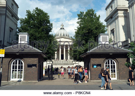 UCL entrance in Gower Street, central London, UK. - Stock Image