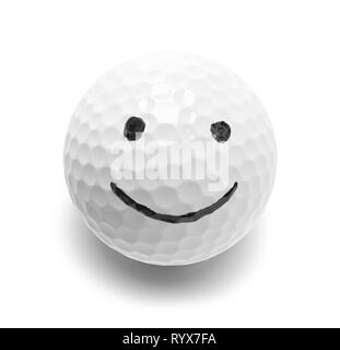 Golf Ball With Smiley Face Isolated on White. - Stock Image