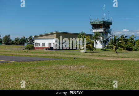 Control tower at Moorea's Temae Airport, French Polynesia - Stock Image