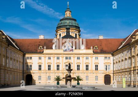 Austria, Lower Austria, Melk, baroque style facade of Melk Abbey listed as World Heritage by UNESCO, Prelate's Courtyard - Stock Image