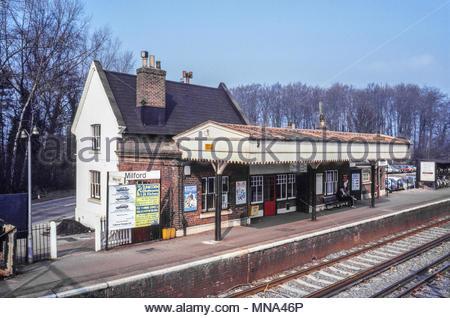 Milford railway station, a British Rail railway station in Surrey, UK – 1984 - Stock Image