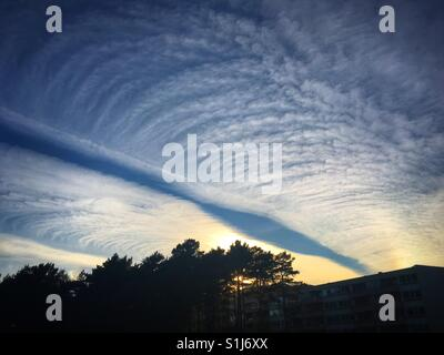 Strange cloud formations over Bergen, Norway. - Stock Image