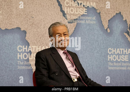 London, UK. October 1, 2018: Mahathir Mohamad, prime minister of Malaysia, speaking at the Chatham House thinktank in London. Credit: Dominic Dudley/Alamy Live News - Stock Image