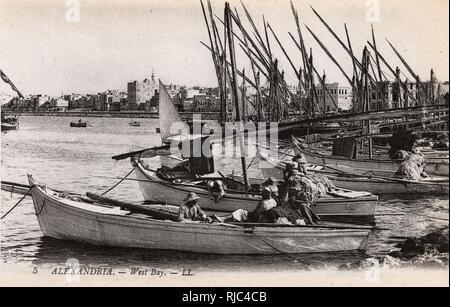 Alexandria, Egypt - Boats moored in the West Bay. - Stock Image