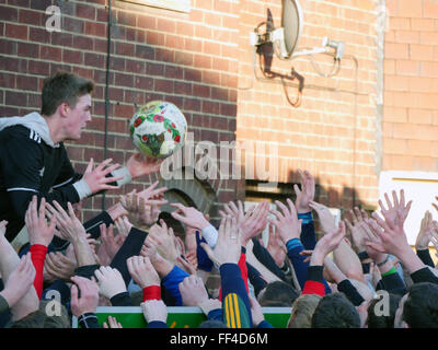 Ashbourne, Derbyshire, UK. 10th February, 2016. Ash Wednesday football match witch is the second day of the Royal - Stock Image