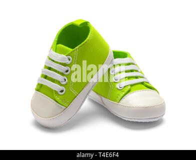 Two Green Baby Shoes Isolated on White Backround. - Stock Image