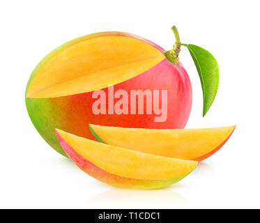 Isolated mango. One mango fruit with cut out slices isolated on white background with clipping path - Stock Image