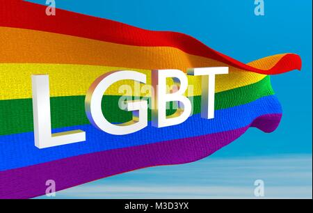 Rainbow Flag LGBT Movement - Stock Image