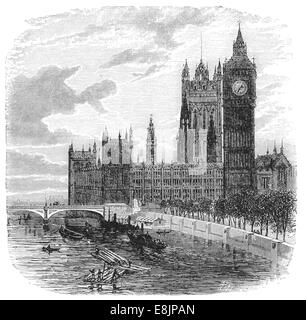 Houses of Parliament from the north circa 1880 - Stock Image