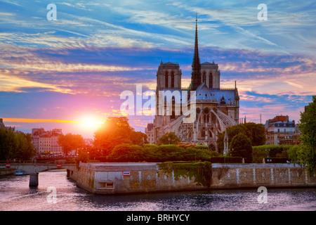 Paris, Notre Dame de Paris Cathedral at Sunset - Stock Image