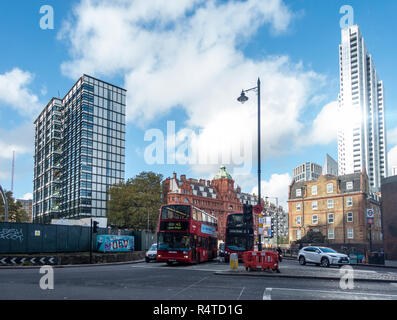 Red London  Double Decker bus on the Old Street or Silicon Roundabout in London, UK - Stock Image