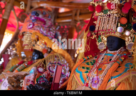 Mazu statue from Ciyou Temple in Taipei sits inside a palanquin during a local daoist procession in the city. - Stock Image