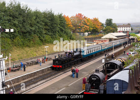 Ex Lancashire & Yorkshire Railway Class 27 steam engine, built 1896, running as LMS 12322 at Bury on the East - Stock Image