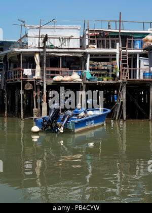 The fishing village and stilt houses of Tai O from the water, western Lantau Island, Hong Kong - Stock Image