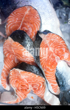 Fresh fish on ice at the fish market - Stock Image